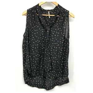 Free People Shirt Tie Neck Black Pink Small Sleeve